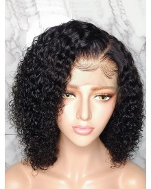 Bejoy Peruvian Virgin Human Hair Deep Curly Bob 360 Lace Wigs
