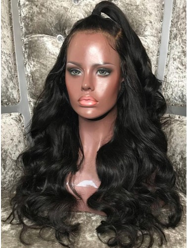 Virgin Brazilian Hair Body Wave 360 Lace Wigs With Pre Plucked Hairline