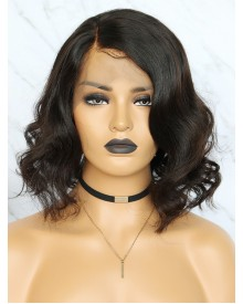 Bejoy Virgin Indian Human Hair Wavy Bob 360 Lace Frontal Wigs
