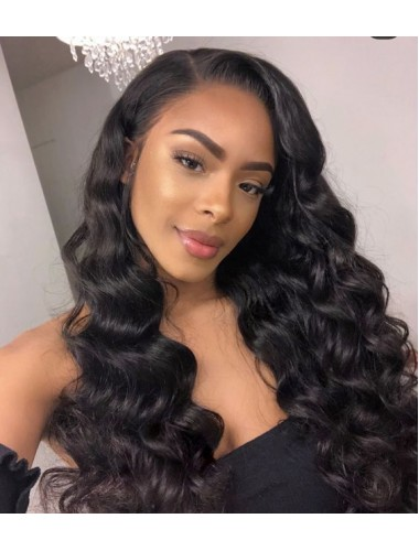 Loose Wave Virgin Malaysian Hair Lace Front Wigs With Natural Hairline