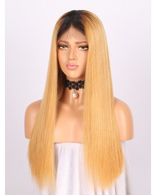 Bejoy 4/27# Ombre Indian Remy Hair Straight Full Lace Wigs