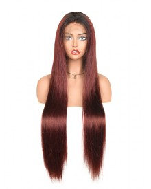 Bejoy 1B 99J Remy Brazilian Hair Long Straight Full Lace Wigs