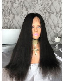 Bejoy Virgin Indian Human Hair Full Lace Yaki Straight Wigs