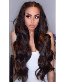 Bejoy Virgin Indian Human Hair Loose Wave Darkest  Brown #2 Full Lace Wigs