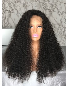Bejoy Virgin Peruvian Hair Bleached Knots Kinky Curly Full Lace Wigs