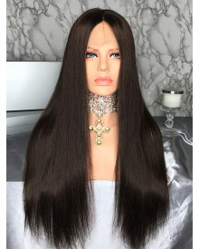 Bejoy Virgin Peruvian Hair Bleached Knots Straight Full Lace Wigs