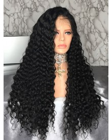 Bejoy Virgin Peruvian Hair Bleached Knots Deep Wave Full Lace Wigs