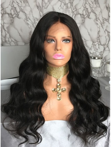 Virgin Peruvian Hair Bleached Knots Body Wave Full Lace Wigs