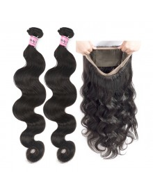 Bejoy 2 Bundles of Body Wave Hair With 360 Lace Frontal