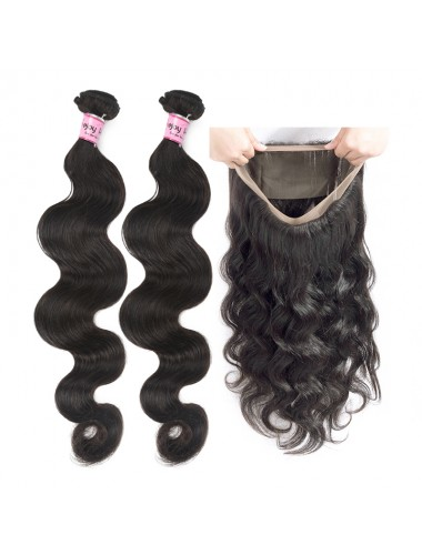 2 Bundles of Body Wave Hair With 360 Lace Frontal