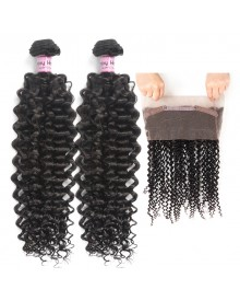 Bejoy 2 Bundles of Deep Curly Hair With 360 Lace Frontal