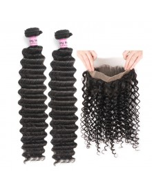 Bejoy 2 Bundles of Deep Wave Hair With 360 Frontal