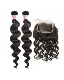 Bejoy 2 Bundles of Loose Curly Hair With 360 Lace Frontal