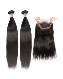 Bejoy 2 Bundles of Straight Virgin Hair With 360 Lace Frontal