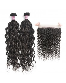 Bejoy 2 Bundles of Water Wave Virgin Hair With 360 Lace Frontal