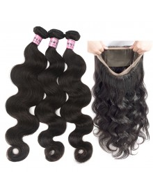 Bejoy 3 Bundles of Body Wave Hair With 360 Lace Frontal