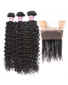Bejoy 3 Bundles of Deep Curly Hair With 360 Lace Frontal