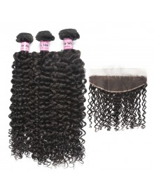 Bejoy 3 Bundles of Deep Curly Virgin Hair With Lace Frontal