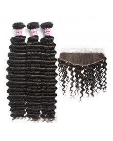 Bejoy 3 Bundles of Deep Wave Virgin Human Hair With Lace Frontal
