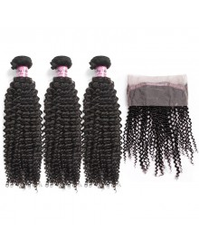 Bejoy 3 Bundles of Kinky Curly Virgin Hair With 360 Lace Frontal