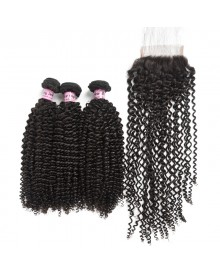 Bejoy 3 Bundles of Kinky Curly Virgin Human Hair With Lace Closure