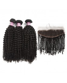Bejoy 3 Bundles of Kinky Curly Virgin Human Hair With Lace Frontal