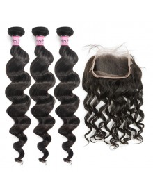 Bejoy 3 Bundles of Loose Curly Human Hair With 360 Lace Frontal