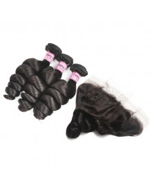 Bejoy 3 Bundles of Loose Wave Virgin Human Hair With Lace Frontal