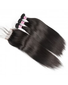 Bejoy 3 Bundles of Straight Virgin Human Hair With Lace Closure