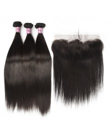 Bejoy 3 Bundles of Straight Virgin Human Hair With Lace Frontal