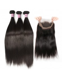Bejoy 3 Bundles of Straight Virgin Remy Hair With 360 Lace Frontal