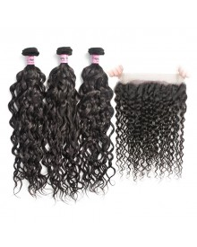 Bejoy 3 Bundles of Water Wave Virgin Human Hair With 360 Frontal