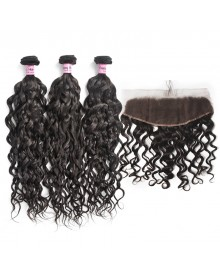 Bejoy 3 Bundles of Water Wave Virgin Remy Hair With Lace Frontal