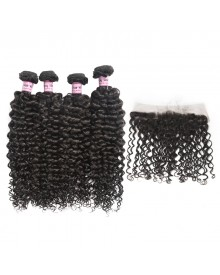 Bejoy 4 Bundles of Deep Curly Virgin Remy Hair With Lace Frontal