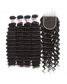 Bejoy 4 Bundles of Deep Wave Virgin Remy Hair With Lace Closure