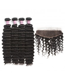 Bejoy 4 Bundles of Deep Wave Virgin Remy Hair With Lace Frontal