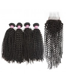 Bejoy 4 Bundles of Kinky Curly Virgin Human Hair With Lace Closure