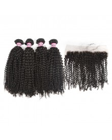 Bejoy 4 Bundles of Kinky Curly Virgin Human Hair With Lace Frontal