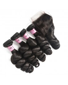 Bejoy 4 Bundles of Loose Wave Virgin Human Hair With Lace Closure