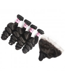 Bejoy 4 Bundles of Loose Wave Virgin Remy Hair With Lace Frontal