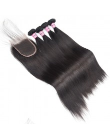 Bejoy 4 Bundles of Straight Virgin Human Hair With Lace Closure