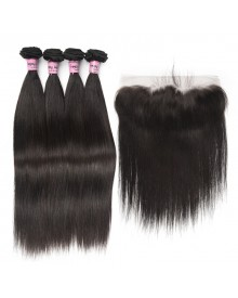 Bejoy 4 Bundles of Straight Virgin Human Hair With Lace Frontal