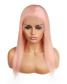 Bejoy Pink Brazilian Remy Hair Straight Lace Front Wigs