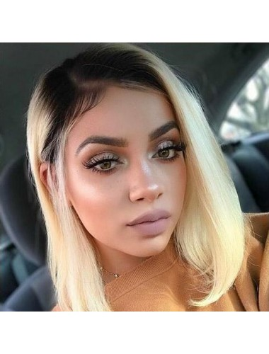 Bejoy Brazilian Remy Human Hair Ombre 1B 613# Blonde Color Straight Bob Lace Front  Wigs