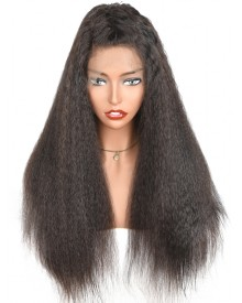 Bejoy Kinky Straight Malaysian Virgin Hair Lace Front Wigs With Natural Hairline
