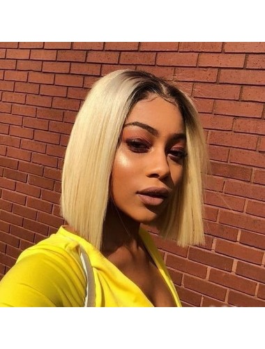 Bejoy 100% Human Virgin Hair Straight With Natural Hairline #1BT27 Lace Front Bob Wigs