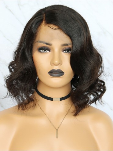 Bejoy Malaysian Virgin Hair Wavy Bob Lace Front Wigs With Natural Hairline