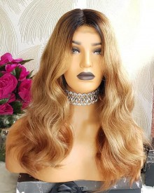 Bejoy 4/27# Ombre Indian Remy Hair Wavy Lace Front Wigs