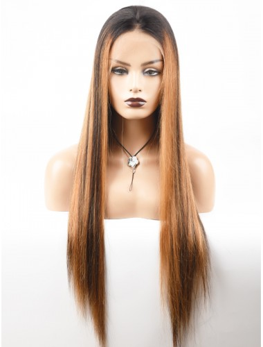Bejoy Peruvian Virgin Remy Hair Highlight Color Straight Lace Front Wigs