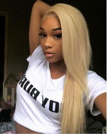Bejoy 613# Blonde Brazilian Remy Hair Straight Full Lace Wigs